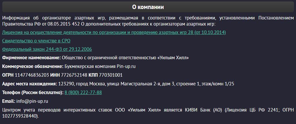 Служба поддержки Pin-up.ru